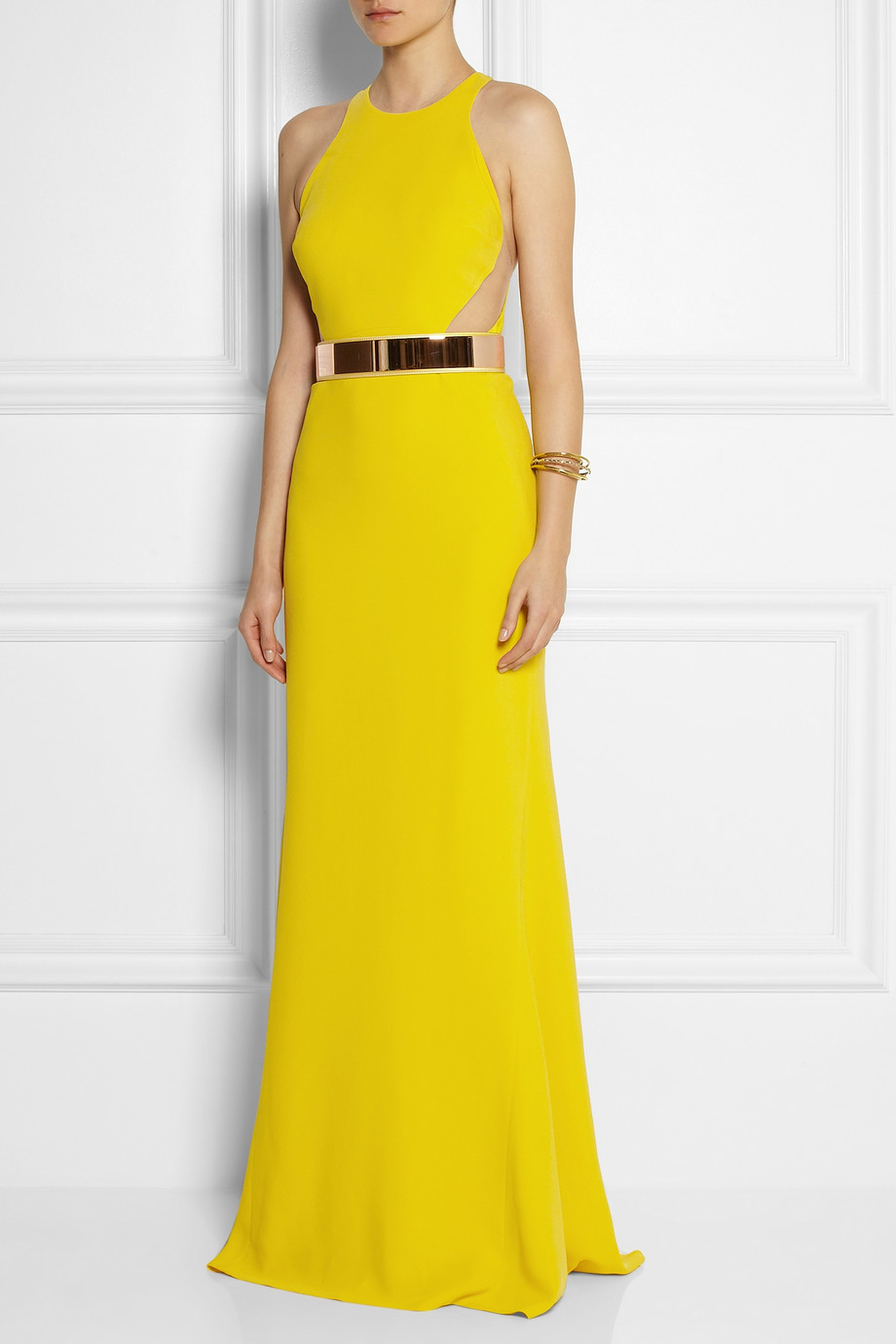 Stella McCartney Saskia Stretch-Cady Gown in Bright-Yellow