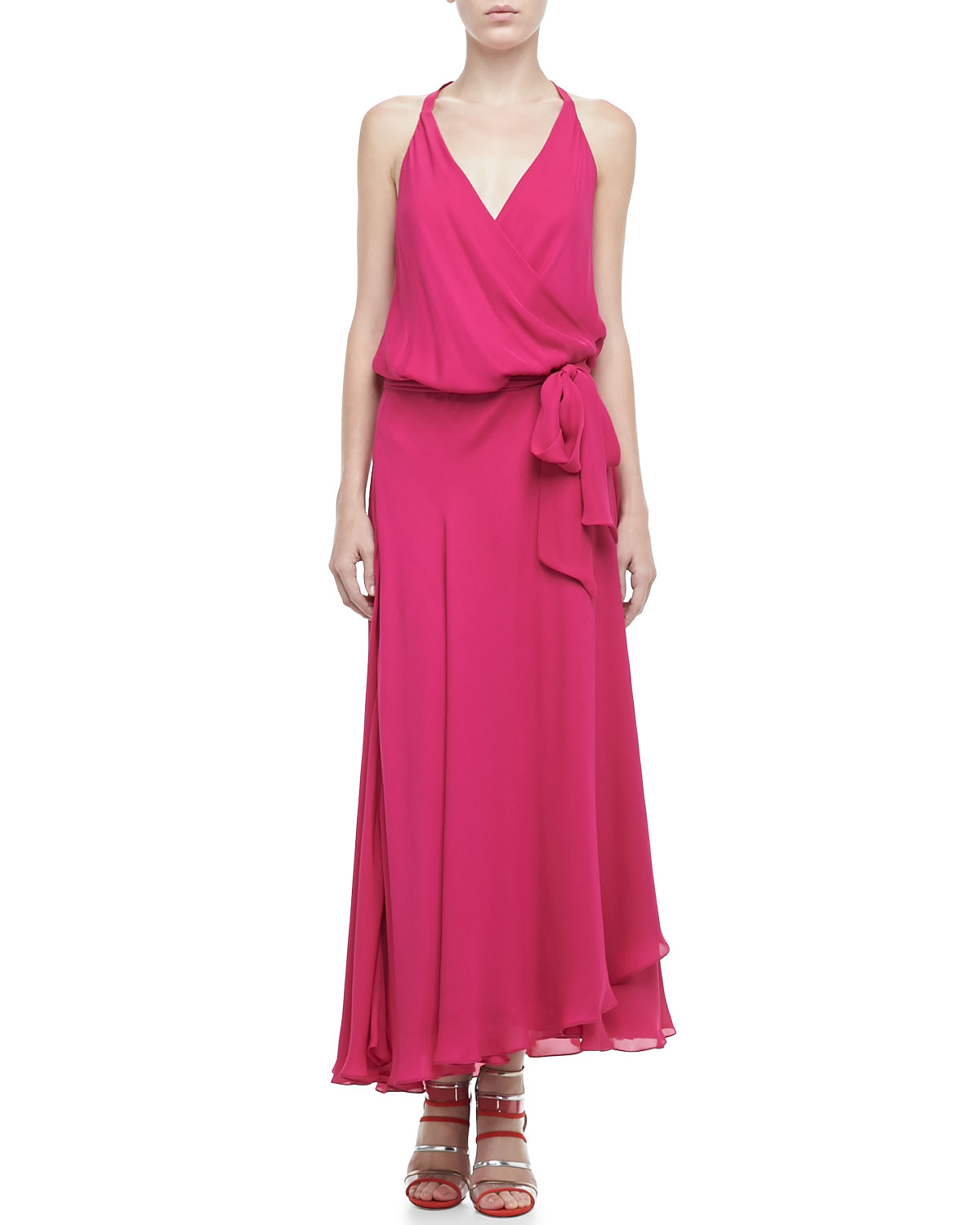 Haute Hippie Halter Faux-Wrap Maxi Dress in Fuchsia