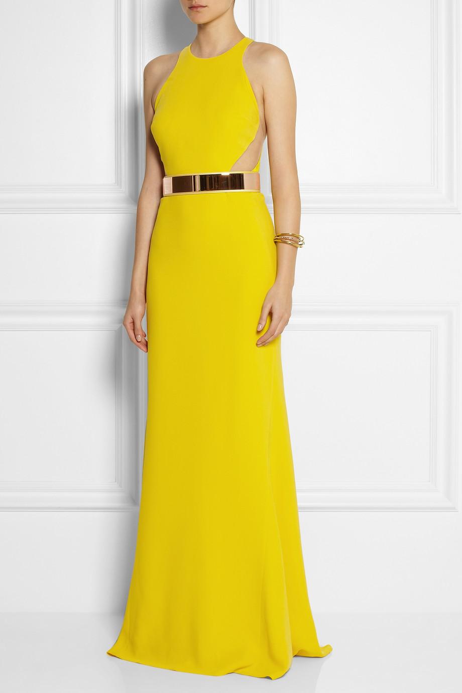 Stella McCartney Saskia Stretch-Cady Gown in Bright-Yellow
