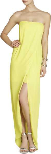 BCBG Yellow Jesse Draped Strapless Gown